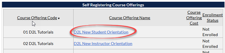 screenshot of self registration courses list with D2L New Student Orientation circled