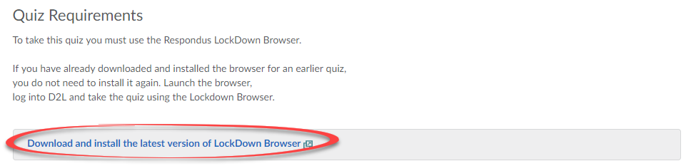Screenshot of quiz with the option to download Respondus Lockdown Browser.