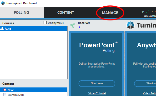 TurningPoint Manage Tab button