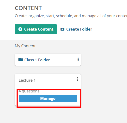 Content Manage Button