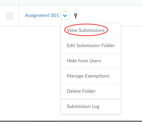 view submissions drop-down arrow