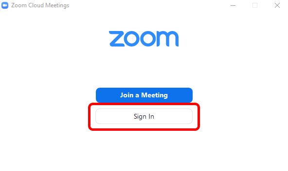 Zoom Client Sign In Button