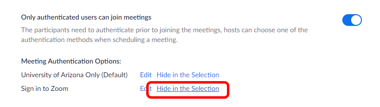 Hide in Selection option