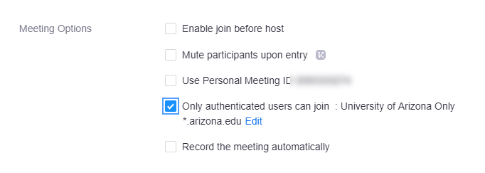 Schedule New Meeting Authentication option