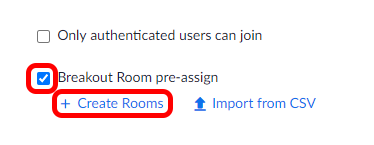 Pre-assign Breakout Rooms Create Rooms Link