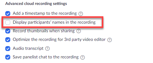 "Circled option for ""Display participants' names in the recording"" in settings."