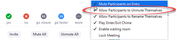 allow participants to unmute themselves option circled in menu