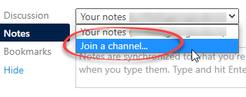 join a channel option circled in the menu