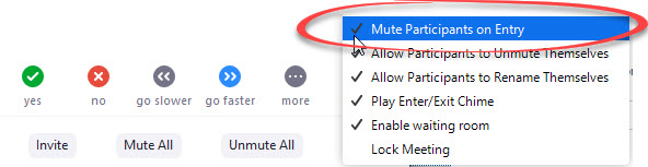 mute participants upon entry option circled in menu