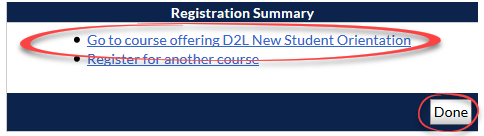 registration summary page with go to course offereing link and done button circled